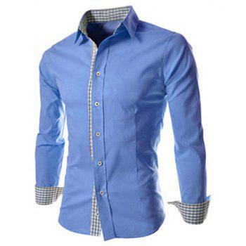 Slimming Trendy Turn-down Collar Checked Print Splicing Long Sleeves Men's Cotton Blend Shirt - BLUE BLUE