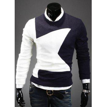 Fashion Round Neck Slimming Color Splicing Five-Pointed Star Long Sleeves Men's Sweater