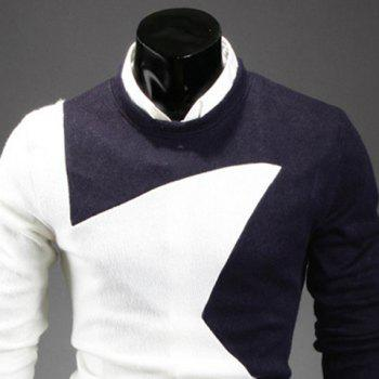 Fashion Round Neck Slimming Color Splicing Five-Pointed Star Long Sleeves Men's Sweater - CADETBLUE XL