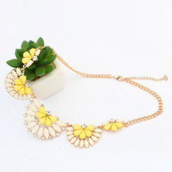 Fashion Polishing Candy Color Gemstone Decorated Fan Shaped Pendant Necklace For Women - YELLOW