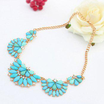 Fashion Polishing Candy Color Gemstone Decorated Fan Shaped Pendant Necklace For Women - BLUE