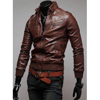 Trendy Slimming Long Sleeves Stand Collar Multi-Zipper Design Shoulder Mark Embellished Solid Color Men's Leather Jacket - L L