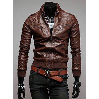 Trendy Slimming Long Sleeves Stand Collar Multi-Zipper Design Shoulder Mark Embellished Solid Color Men's Leather Jacket - COFFEE L
