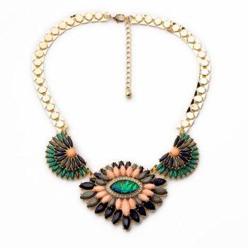 Sweet Colorful Faux Gem Decorated Layered Flower Pendant Necklace For Women