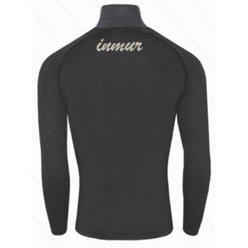Active Style Slimming Long Sleeves Round Neck Quick-Dry Close-Fitting Logo Print Solid Color Men's Cotton Blend T-Shirt - BLACK XL