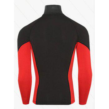 Active Style Slimming Long Sleeves Round Neck Logo Print Quick-Dry Close-Fitting Color Block Men's Cotton Blend T-Shirt - RED/BLACK RED/BLACK