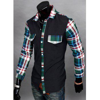 Casual Style Slimming Long Sleeves Turn-down Collar Plaid Print Splicing Men's Cotton Blend Shirt - XL XL