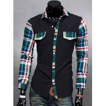 Casual Style Slimming Long Sleeves Turn-down Collar Plaid Print Splicing Men's Cotton Blend Shirt - GREEN XL