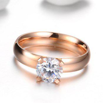 Gold Plated Rhinestone Ring - ROSE GOLD ONE SIZE