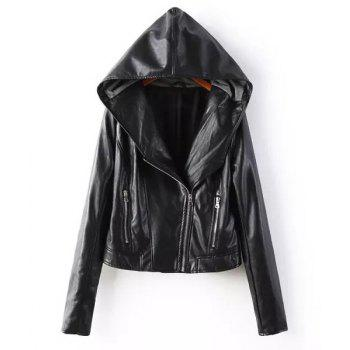 Fashionable Zippers Design Hooded Solid Color Faux Leather Long Sleeve Coat For Women
