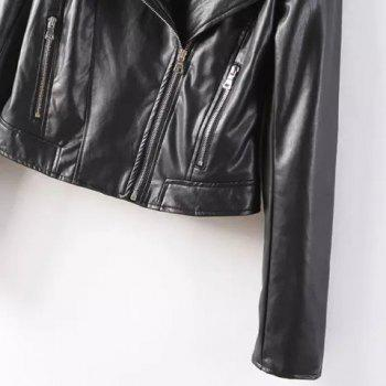 Fashionable Zippers Design Hooded Solid Color Faux Leather Long Sleeve Coat For Women - BLACK L