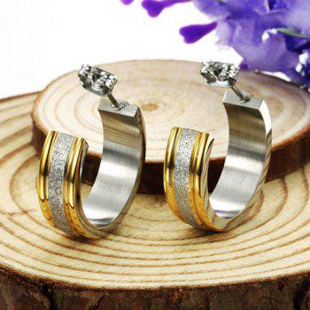 Pair of Circle Dull Polished Earrings - COLORMIX