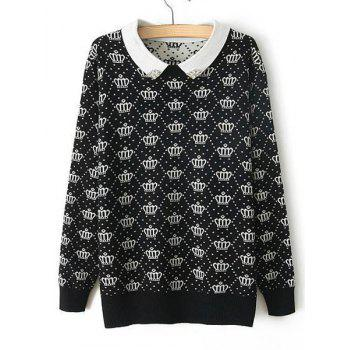Crown Pattern Beaded Peter Pan Collar Long Sleeve Preppy Style Women's Sweater