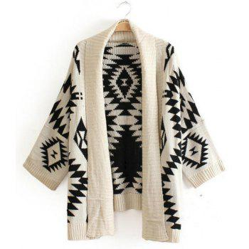 Geometric Pattern Collarless Long Sleeve Trendy Style Women's Cardigan