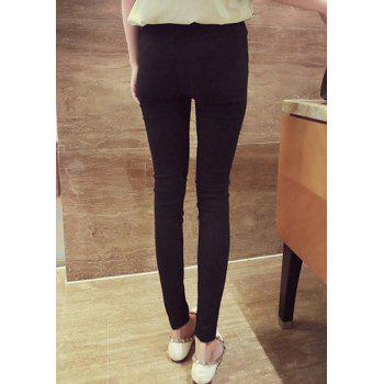 Solid Color yle Narrow Feet All-Match Skinny Simple StWomen's Pants - BLACK M