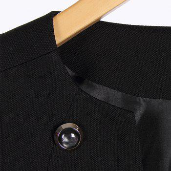 Double-Breasted Solid Color Round Collar Long Sleeve Fashionable Women's Coat - BLACK S