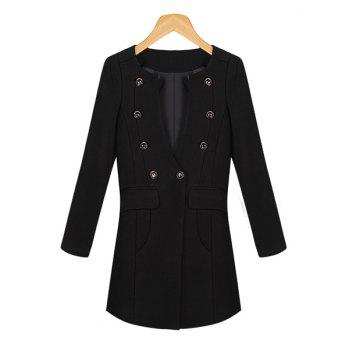 Double-Breasted Solid Color Round Collar Long Sleeve Fashionable Women's Coat