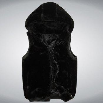 Trendy Slimming Sleeveless Hooded Zipper Design Solid Color Men's Faux Fur Waistcoat - BLACK XL