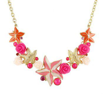 Gorgeous Gem Decorated Flower and Star Necklace For Women