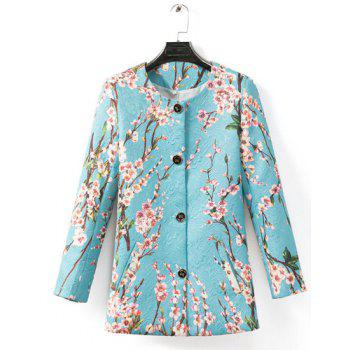 Ladylike Floral Print Round Neck Single Breasted Long Sleeve Trench Coat For Women