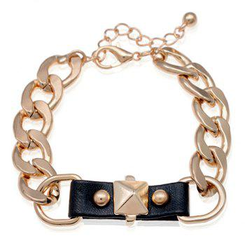 Rivet Embellished Faux Leather Pendant Bracelet