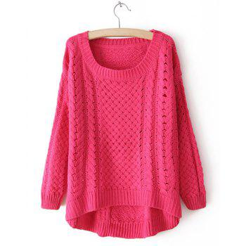 Casual Loose-Fitting Scoop Neck Cable Knit Long Sleeve Sweater For Women