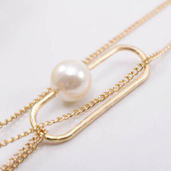 Delicate Faux Pearl Decorated Openwork Oval Pendant Necklace For Women - AS THE PICTURE