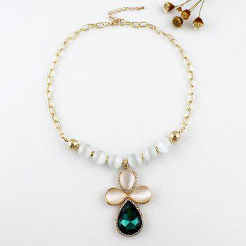 Elegant Gem Decorated Geometry Shape  Alloy Necklace For Women - GREEN