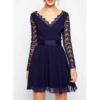 Hole Design Lace Splicing Nipped Waist Long Sleeve V-Neck Wide Hem Dress