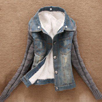 Stylish Turn-Down Neck Long Sleeve Spliced Denim Flocking Women's Jacket - BLUE S