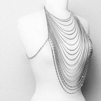 Sexy Special Design Loopy Tassels Women's Body Chain - SILVER
