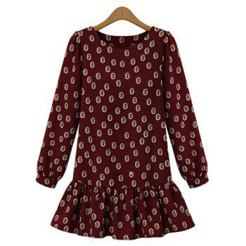Cute Floral Print Scoop Neck Loose-Fitting Dress For Women