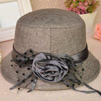3b3e981672e2a5 ... authentic elegant rose decoration solid color bucket hat for women gray  gray 93f28 b63a9