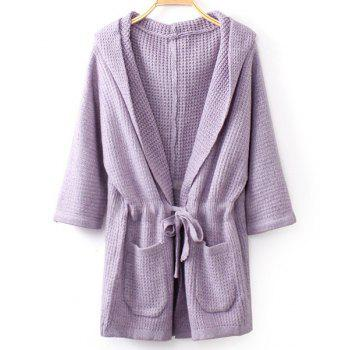 Stylish Solid Color Hooded Drawstring Design Half Sleeve Cardigan For Women