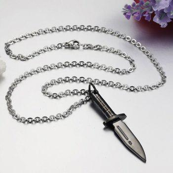 Delicate Chic Black Dagger Pendant Necklace For Men - AS THE PICTURE AS THE PICTURE