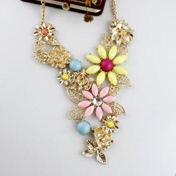 Bohemian Style Gemstone Embellished Flower Shape and Openwork Leaf Women's Necklace - AS THE PICTURE