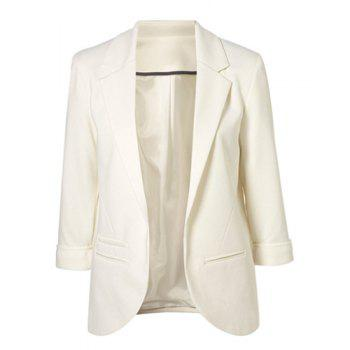 Simple Style Lapel Neck 3/4 Sleeve Solid Color Slimming Women's Blazer WHITE