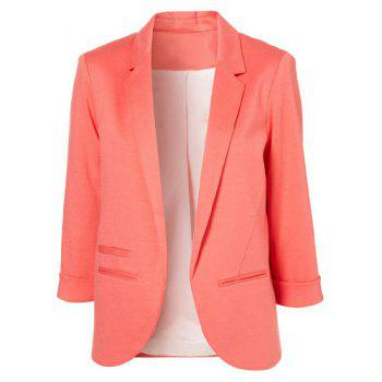 Simple Style Lapel Neck 3/4 Sleeve Solid Color Slimming Women's Blazer PINK