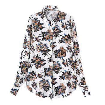 Stylish Floral Print Turn-Down Collar Cotton Blend Long Sleeve Blouse For Women