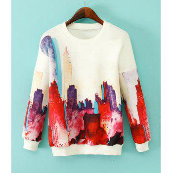 Building Print Round Collar Long Sleeve Fashionable Women's Sweatshirt
