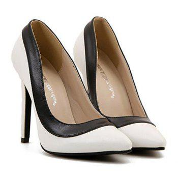 Trendy Pointed Toe and Color Block Design Pumps For Women - WHITE 40