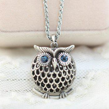 Stylish Chic Women's Rhinestone Owl Sweater Chain Necklace