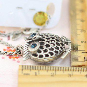 Stylish Chic Women's Rhinestone Owl Sweater Chain Necklace -  SILVER