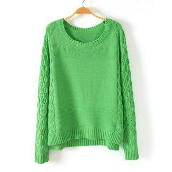 Solid Color Argyle Pattern Scoop Collar Long Sleeve Women's Green Sweater