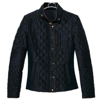 Solid Color Checked Stand Collar Long Sleeve Fashionable Women's Jacket