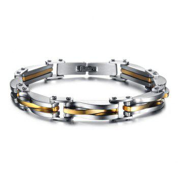 Fashion Chic Gold Silver Link Bracelet For Men - AS THE PICTURE AS THE PICTURE