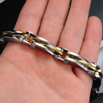 Fashion Chic Gold Silver Link Bracelet For Men -  AS THE PICTURE