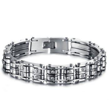 Fashion Chic Rhinestone Inlaid Silver Link Bracelet For Men - AS THE PICTURE AS THE PICTURE