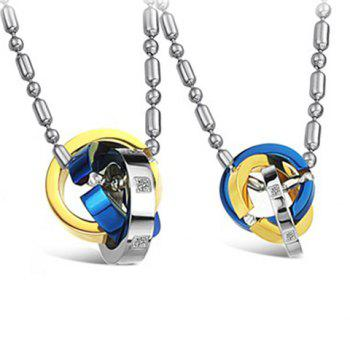 ONE PIECE Stylish Chic Rhinestone Decorated Tri-Color Round Pendant Lover Couple Necklace