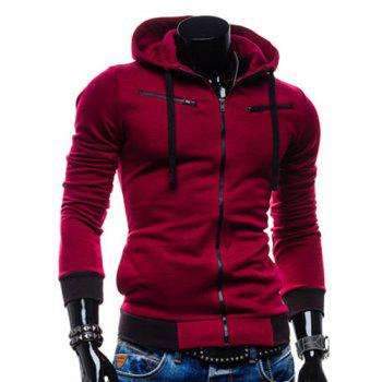 Casual Style Slimming Hooded Zipper Embellished Color Splicing Long Sleeves Men's Thicken Cotton Blend Sport Coat - WINE RED WINE RED